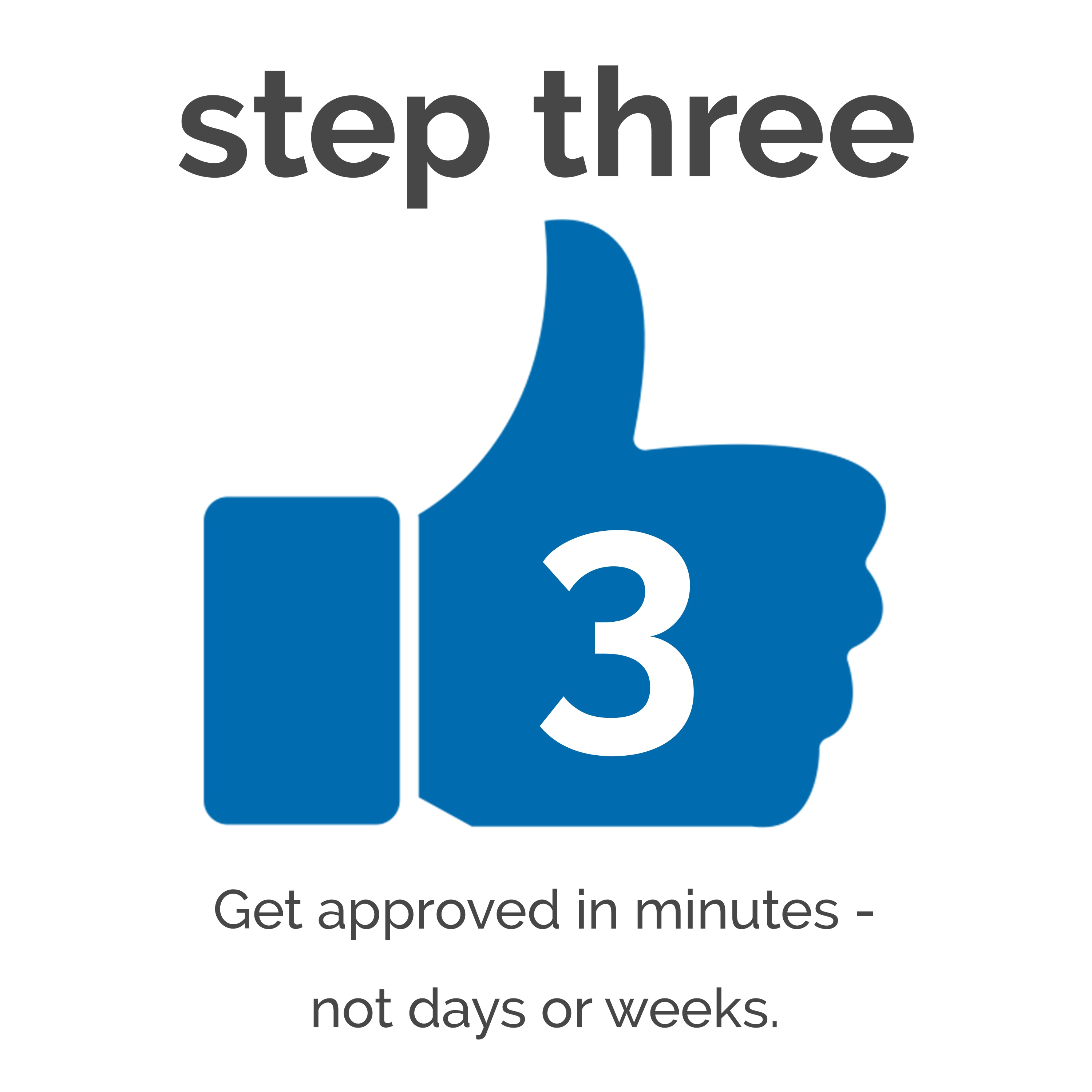Step three- Get approved in minutes- not days or weeks.