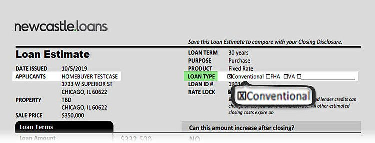 Loan Estimate Loan Type Conventional