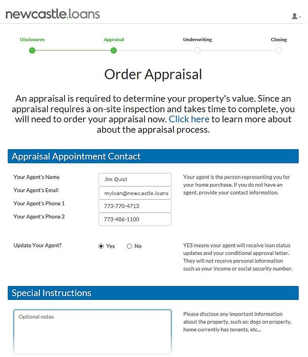 Newcastle home loans appraisal order form