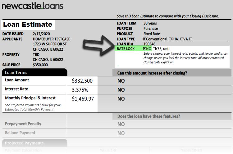 Rate Lock Loan Estimate NewCastle Home Loans