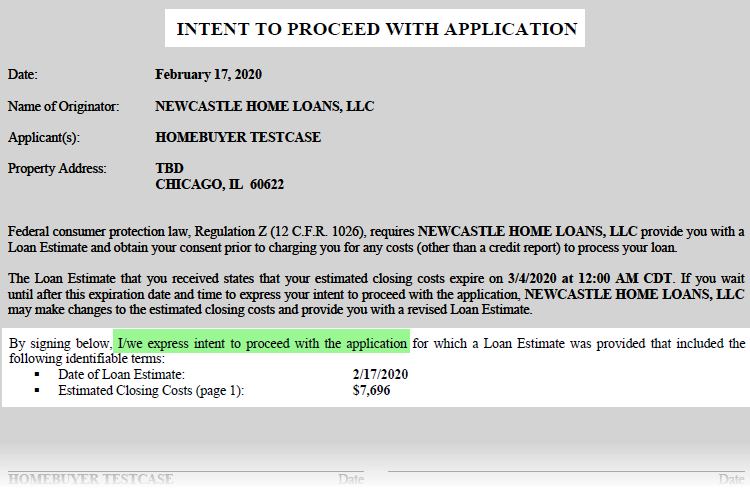 Intent to Proceed Mortgage NewCastle Home Loans